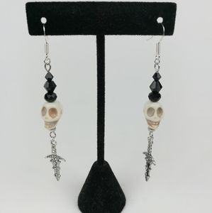 Skull and dagger earrings with black glass beads